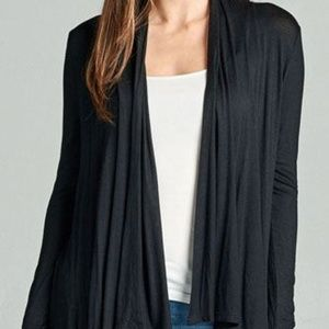 Sweaters - Lightweight Open-Jersey Draping Cardigan Black